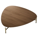 Finsbury Walnut Wood + Brass Metal Modern Coffee Table by Modloft Black