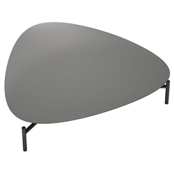 Finsbury Gray Lacquer + Onyx Polished Metal Low Modern Coffee Table by Moloft Black