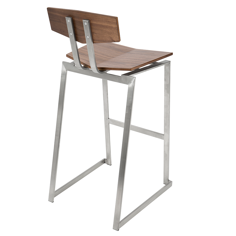 Fishel Walnut + Metal Contemporary Bar Stool