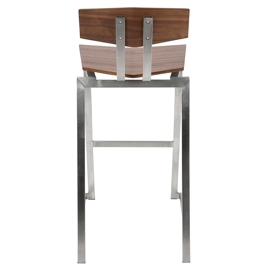 Fishel Walnut + Brushed Steel Modern Bar Stool