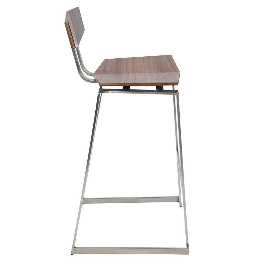 Fishel Walnut + Metal Modern Bar Stool
