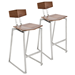 Fishel Walnut + Brushed Steel Contemporary Counter Stool