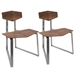 Fishel Walnut Ply + Brushed Steel Set of 2 Modern Dining Chairs