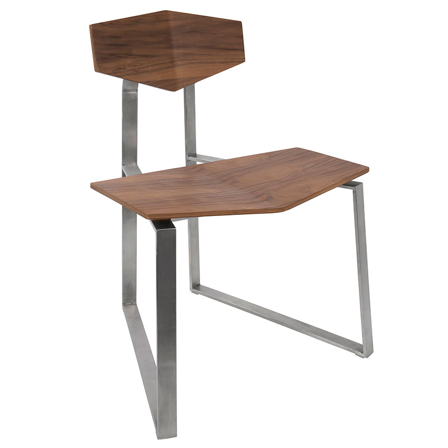 Fishel Walnut Ply + Brushed Steel Modern Dining Side Chair