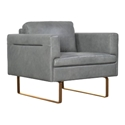 Florence Modern Gray Top Grain Leather Chair