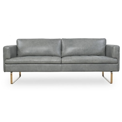 Florence Modern Gray Top Grain Leather Sofa