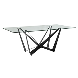 Florstadt Clear Glass + Black Steel Rectangular Glass Modern Dining Table