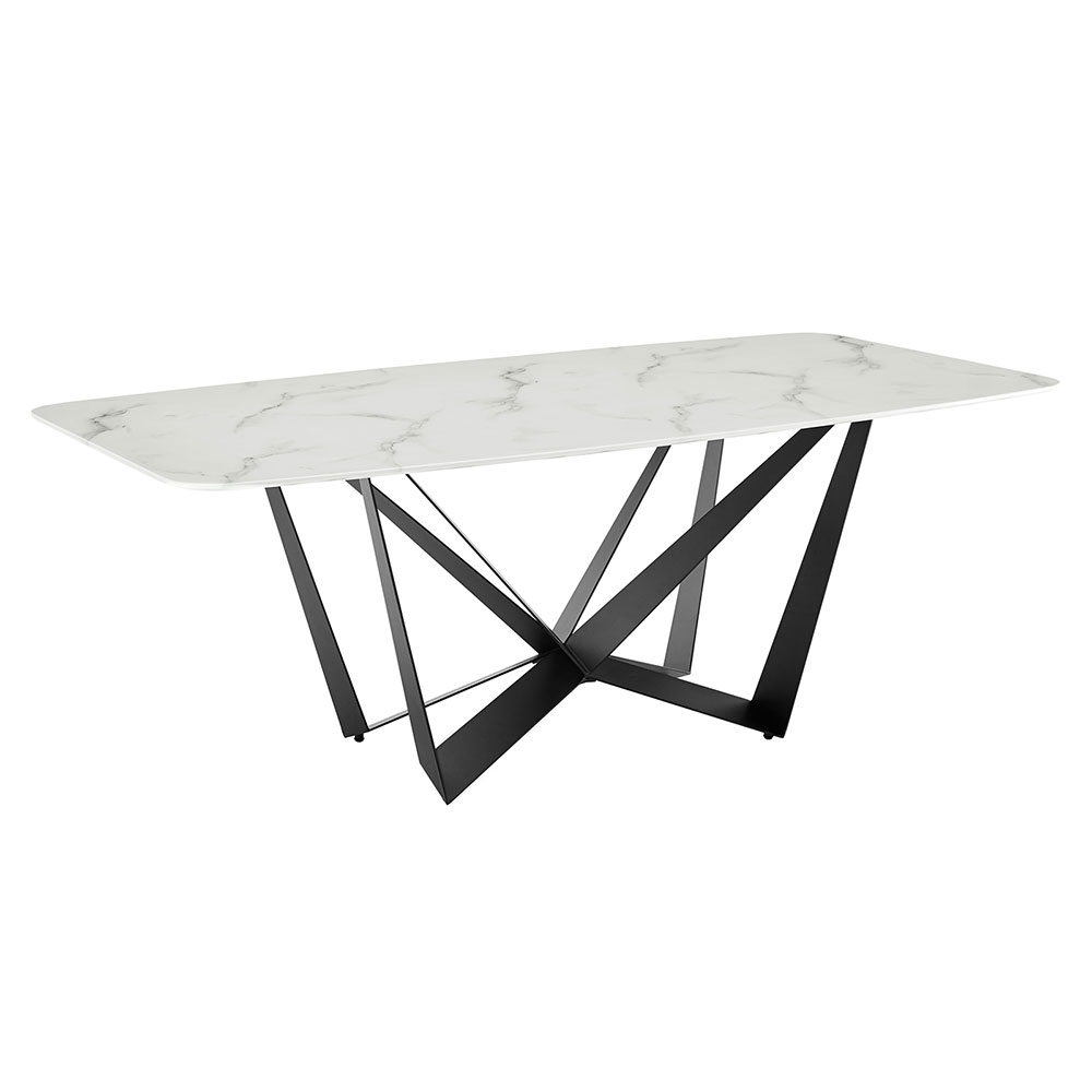 Florstadt White Marble + Black Steel Rectangular Glass Modern Dining Table