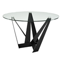 Florstadt Clear Glass + Black Steel Round Glass Modern Dining Table