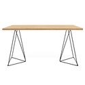 Flow Oak Top + Black Metal Base Modern Desk by TemaHome