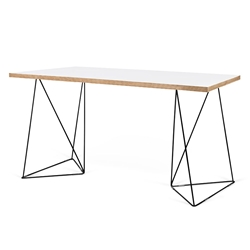 Flow White Top + Black Metal Base Modern Desk