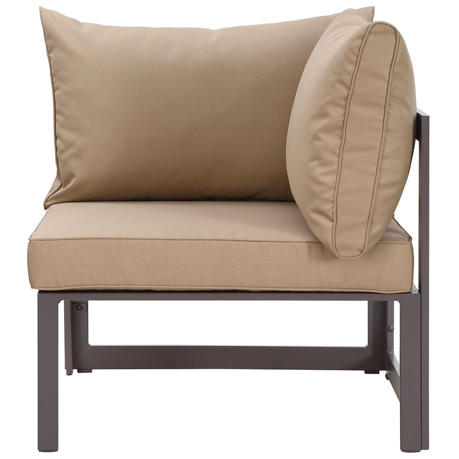 Fontana Brown + Mocha Modern Outdoor Corner Chair - Front View