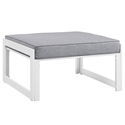 Fontana White + Gray Modern Outdoor Ottoman