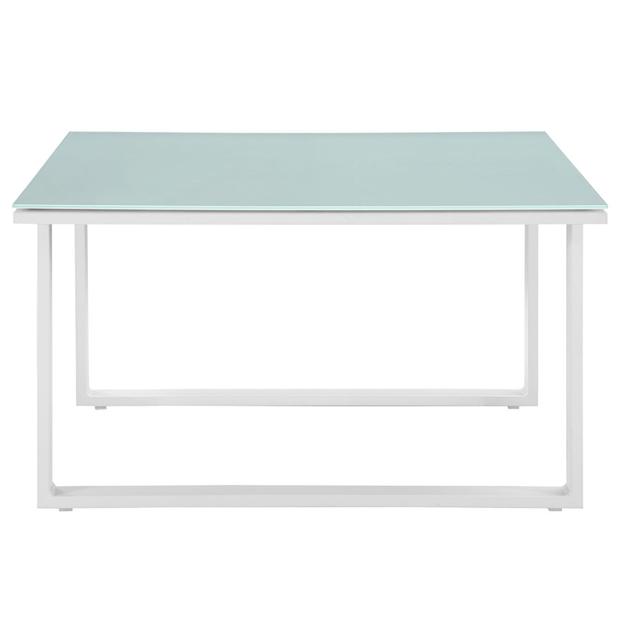 Modern white side table -  Fontana White Modern Outdoor Side Table Front View