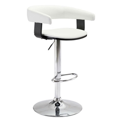 Fontane White Leatherette + Wenge Wood + Chrome Metal Base Modern Adjustable Height Stool