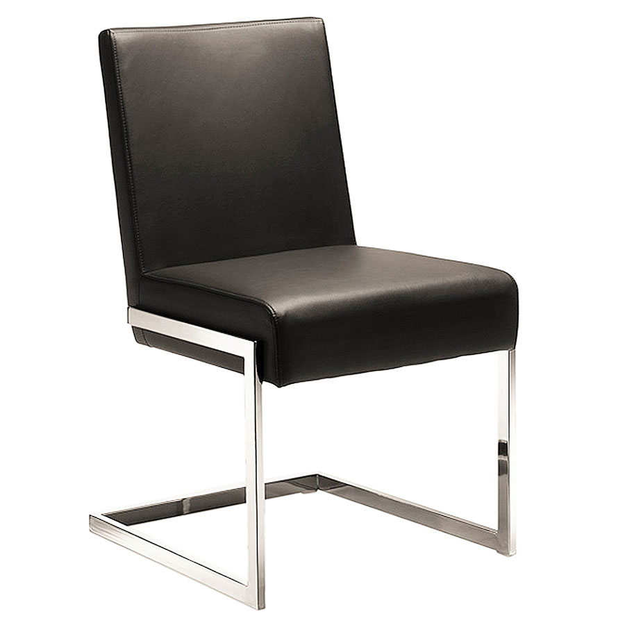 Call To Order Fonteneaux Brown Faux Leather Chrome Modern Dining Side Chair