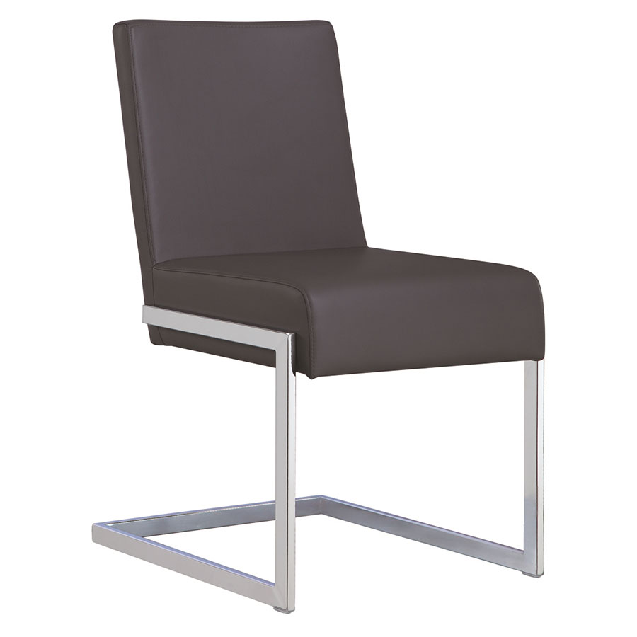 Fonteneaux Gray Faux Leather + Chrome Modern Dining Side Chair