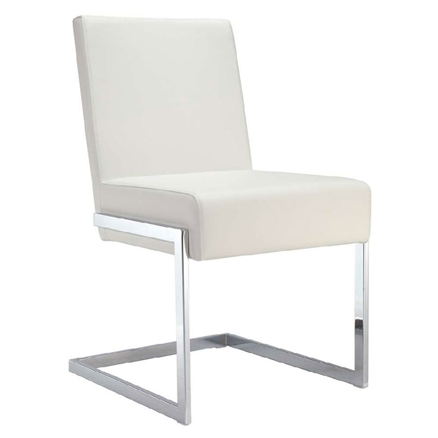 Fonteneaux White Faux Leather + Chrome Modern Dining Side Chair