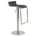 Forest Adjustable Modern Bar Stool in Black Leather