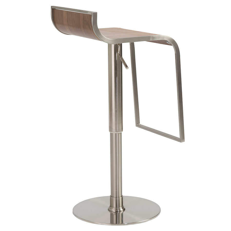 ... Forest Adjustable Modern Walnut Bar Stool - Back View ...  sc 1 st  Eurway : adjustable stool with back - islam-shia.org