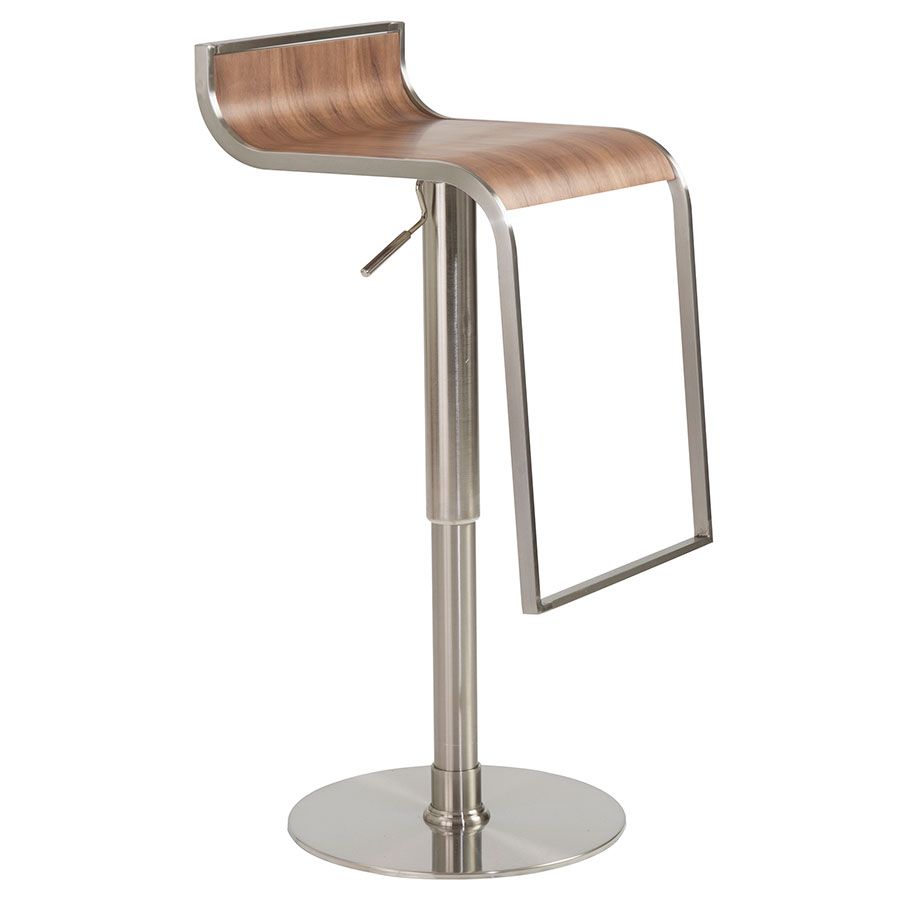 Forest Adjustable Modern Bar Stool in Walnut