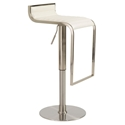 Forest Adjustable Modern Bar Stool in White Leather