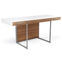 Format Desk in Natural Walnut/White Satin