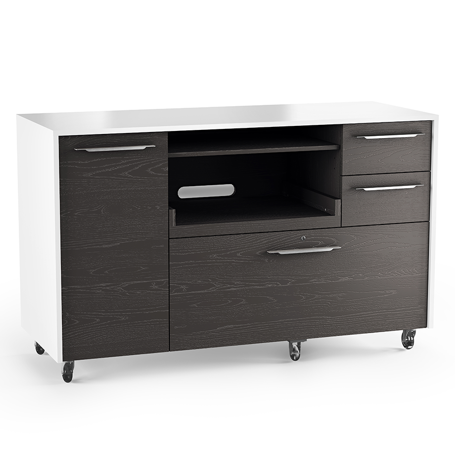 Mobile Credenza: Format Charcoal Modern Mobile Credenza By BDI