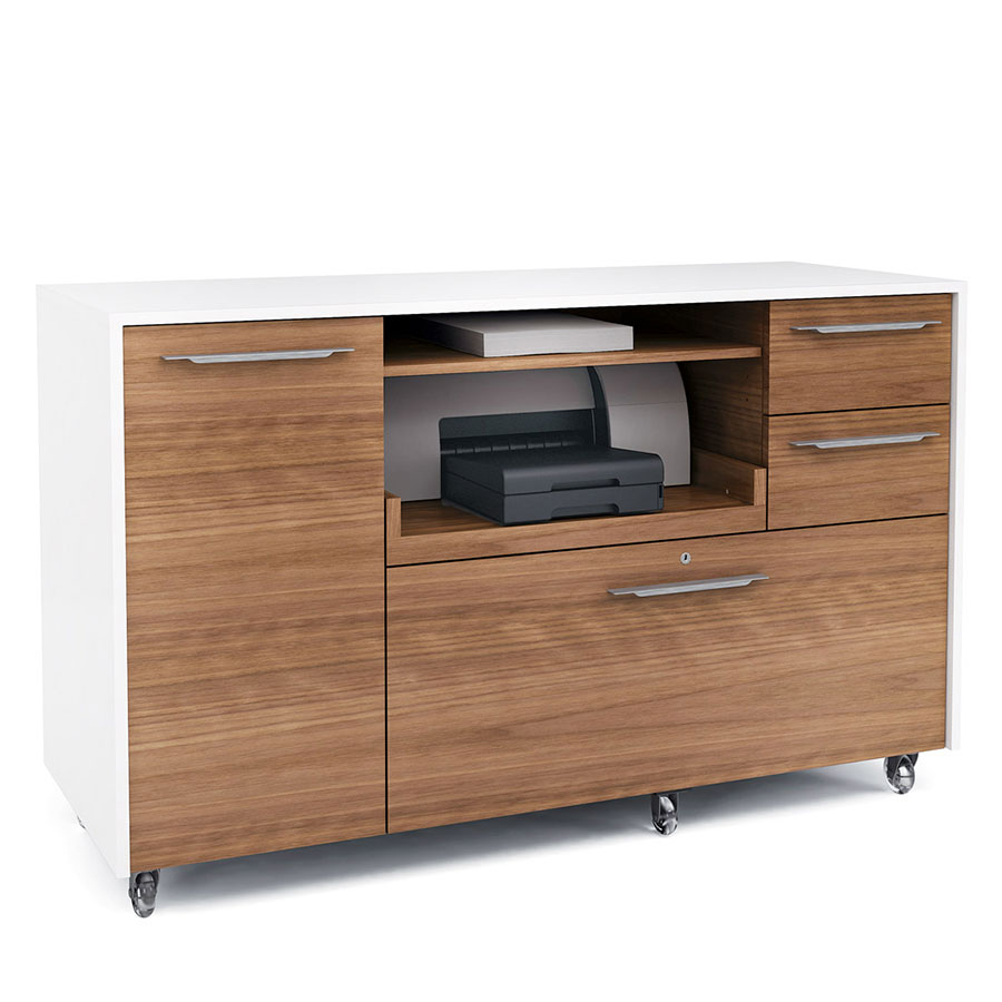 Format Contemporary Credenza in Walnut & White by BDI