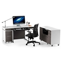BDi Format Charcoal Veneer + White Lacquer Modern Office Set
