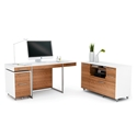 BDi Format Walnut Veneer + White Lacquer Modern Office Set