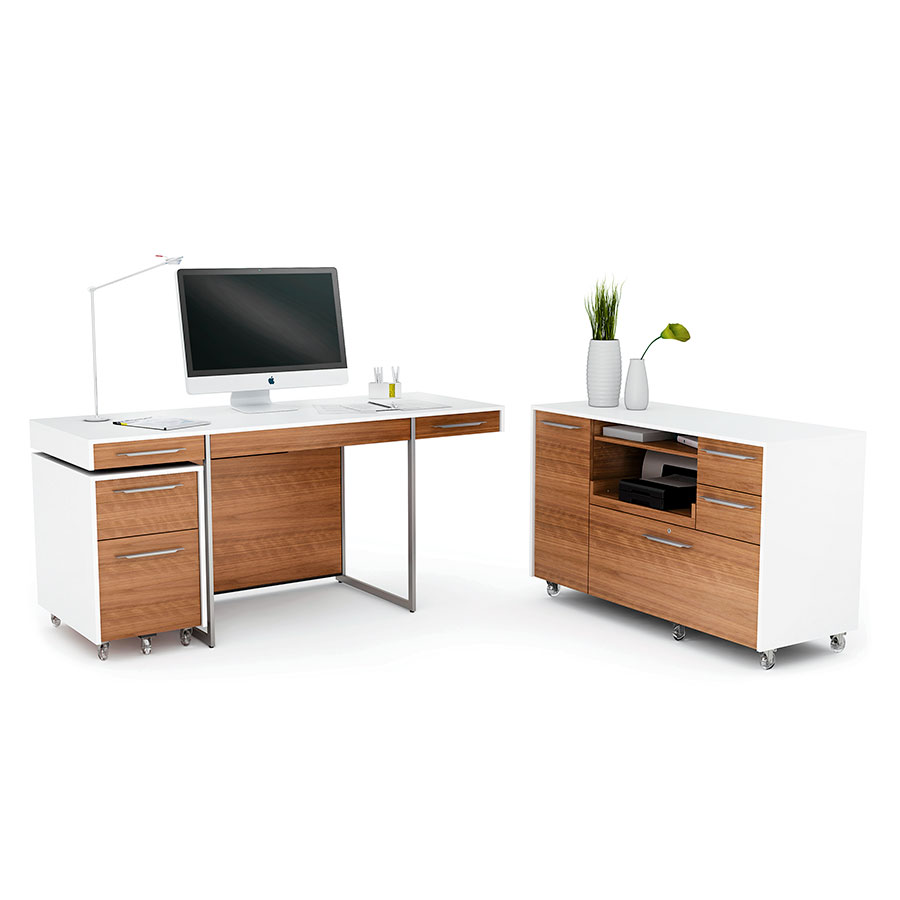 Bdi format walnut modern office set eurway furniture - Walnut office desk ...