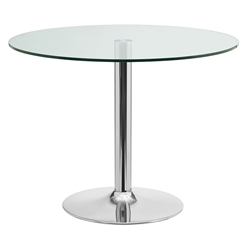 Forney Clear Glass + Chromed Steel Base Round Modern Dining Table