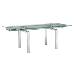 Forsan Chrome + Clear Glass Modern Extension Dining Table