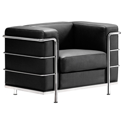 Fortress Modern Arm Chair in Black Leather