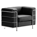 Frontier Modern Arm Chair in Black Leather