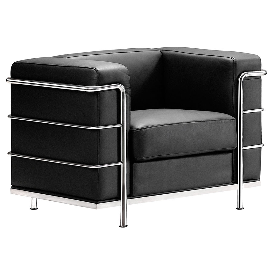 Modern classic lounge chair - Fortress Modern Arm Chair In Black Leather