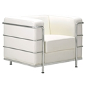 Fortress Modern Arm Chair in White Leather