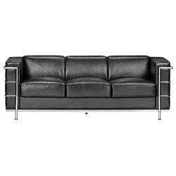 Frontier Modern Classic Leather Black Sofa