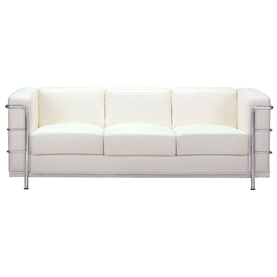 Fortress White Leather Classic Sofa By Zuo Eurway