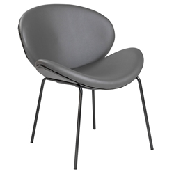 Founder Dark Gray Faux Leather + Black Powder Coated Steel Modern Lounge Chair