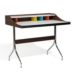 Frahm Multi-Color + Polished Metal Contemporary Writing Desk