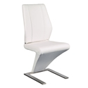 Francine White Leatherette + Brushed Stainless Steel Modern Dining Side Chair