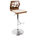 Frank Modern Adjustable Stool in Walnut Wood with Cream Faux Leather Padded Seat and Chrome Base