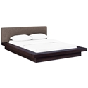 Franklin Modern Brown Fabric + Cappuccino Platform Bed
