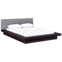 Franklin Modern Gray Fabric + Cappuccino Platform Bed