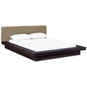 Franklin Modern Latte Fabric + Cappuccino Platform Bed