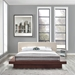Franklin Contemporary Beige Fabric + Walnut Platform Bed