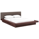 Franklin Modern Brown Fabric + Walnut Platform Bed
