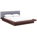 Franklin Modern Gray Fabric + Walnut Platform Bed